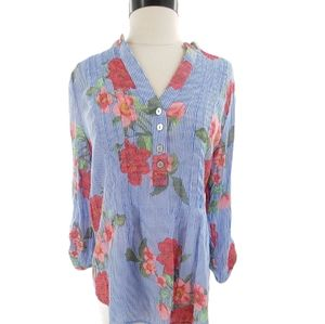 Classic blue pinstripe top with rose pattern